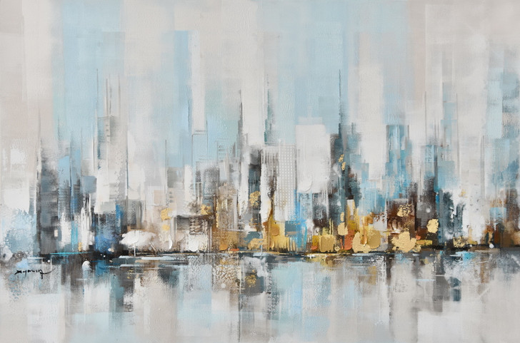 Across the Harbour Hand Painted Canvas Artwork