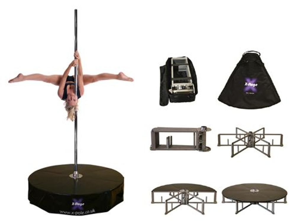 The X-STAGE base you choose will come with the base of your choice, custom carry case with wheels & handle, 6 floor plates (with their own carry cases) and your instructions. Choose your pole separately ... your pole... your stage... your way!