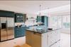 handmade kitchen and island with kitchen larder, pantry, larder cupboard, larder cupboards