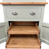 Our Hampton kitchen larder comes with sliding pull out shelf trays on soft close runners included. The shelf trays have been specially designed and created but the team of craftsmen in the workshop.