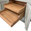These pull out shelf trays are an optional extra solid wood sliding shelf trays specially designed by the workshop team of craftsmen