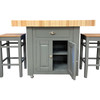 Double overhang butchers block island with cupboard also available with stools