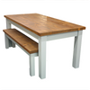 Rustic plank farmhouse table shown with bench option