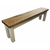 Farmhouse style bench with square legs and rustic plank top