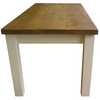 Solid rustic plank top table with painted base