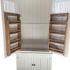 Kitchen larders all come with adjustable shelves and spice racks as standard