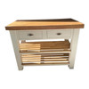 Solid wood butchers block island with reclaimed top version