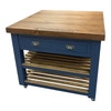 2 drawers above slatted shelves and double way cupboard doors