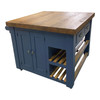 Kitchen island with reclaimed top, double opening cupboard
