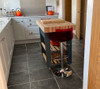 Solid wood butchers block kitchen island with customers own chairs