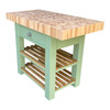 Double overhang butchers block island with super thick end grain beech top