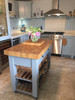 End grain beech butchers block island - light grey
