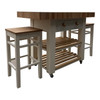 double overhang butchers block island with 2 stools