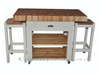 """Butchers block island with stools, end grain beech - colour """"white tie"""""""