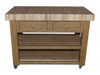 butchers block island - mid oak stain - end grain beech top