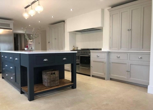 Kitchen island with built in kitchen larder, larder cupboard incorporated in to the design. Hand made in the UK