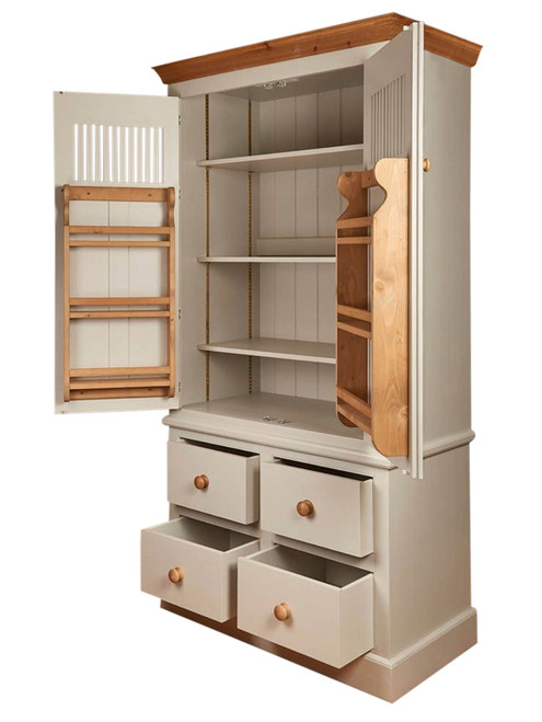 Stiffkey larder cupboard with door spice racks and inner shelves