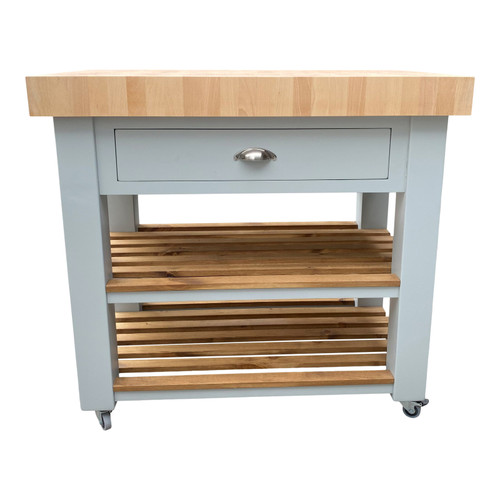 Solid beech end butchers block island with 1 drawer