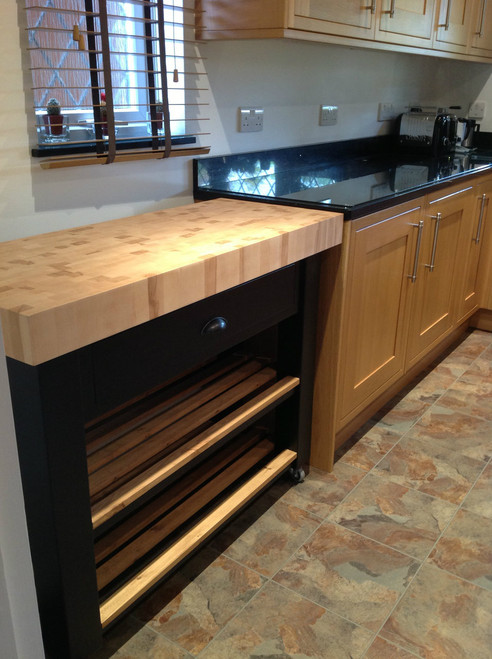 "customised island 100cm wide with one soft close drawer  finished in ""black"""