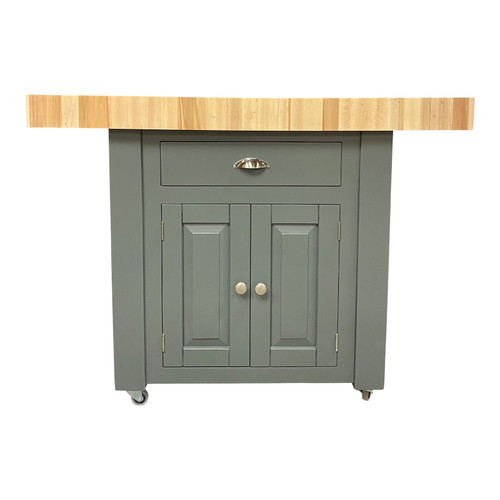 End grain beech double overhang butchers block kitchen island in our new cupboard version, also available with 2 stools