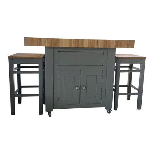 Butchers Block Kitchen Cupboard Island with Double overhang with 2 High Stools 120cm x 60cm -  End Grain Beech