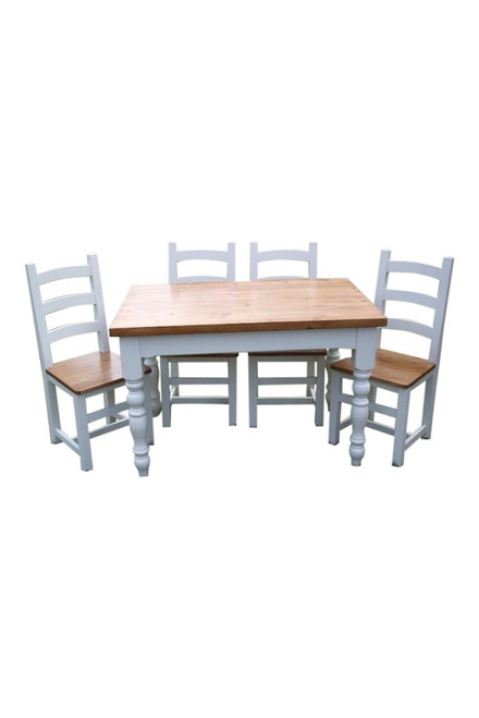 Farmhouse table with farmhouse style turned legs. Picture shows Amish solid wood chairs