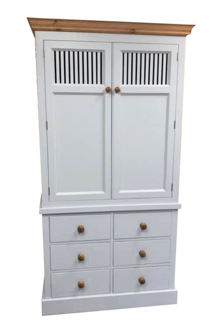 Wiltshire Kitchen Larder cupboard with 6 drawers. Our Wiltshire larder is available vented or unvented and with painted or waxed cornice.