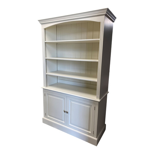 Solid wood bookcase with adjustable shelves and lower 2 door cupboard