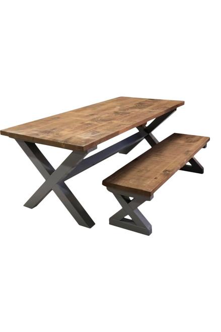 Rustic plank top cross frame farmhouse table