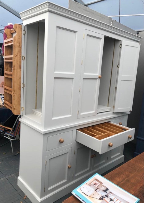 """""""Holkham"""" kitchen larder - colour """"white tie"""" being showcased at the Burghley Horse trials event and was designed personally at the workshop as a showcase piece as well as the beautiful Burghley larder."""