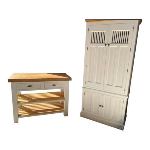 Butchers block island and kitchen larder cupboard set