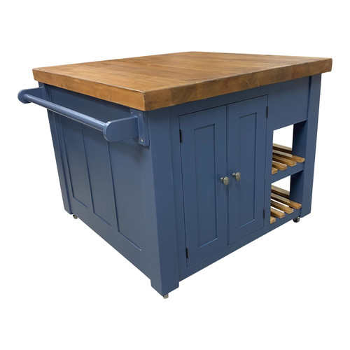 Stunning kitchen island finished in the Farrow & Ball colour Hague Blue