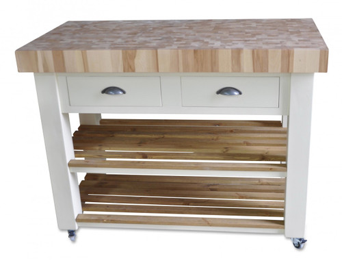 "End grain Beech Kitchen island in"" White Tie """
