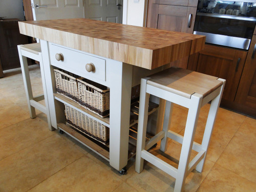 """Double overhang butchers block island set in """"white tie""""1 wooden knob as standard but if required we can place 2 on the drawer"""