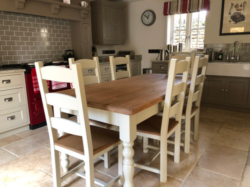 Farmhouse Table and six chairs  Mid oak waxed with turned legs - colour white tie