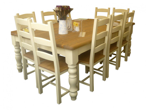 """Farmhouse Table and chairs  base colour """"house white"""""""