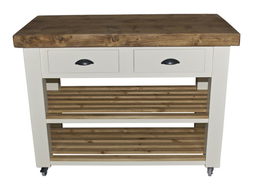 Kitchen island - reclaimed wood -colour white tie