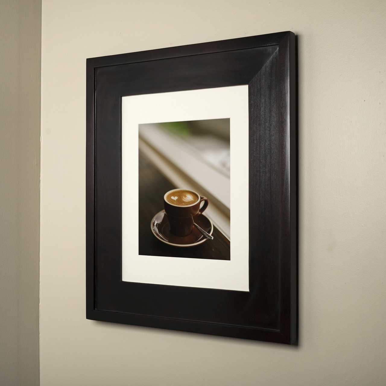 14x18 Coffee Bean Concealed Cabinet   Recessed Medicine Cabinet With A  Picture Frame Door