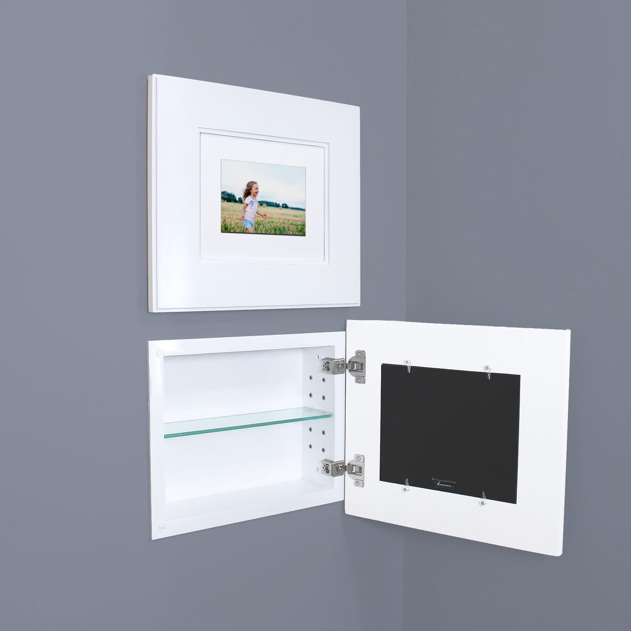 Landscape Shaker White Recessed Picture Frame Medicine Cabinet 14 W X 11 H
