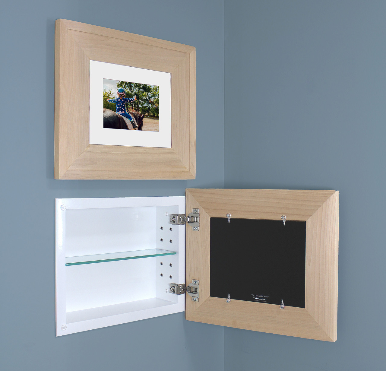 Landscape Unfinished Raised Edge Recessed Picture Frame Medicine Cabinet 14 W X 11 H
