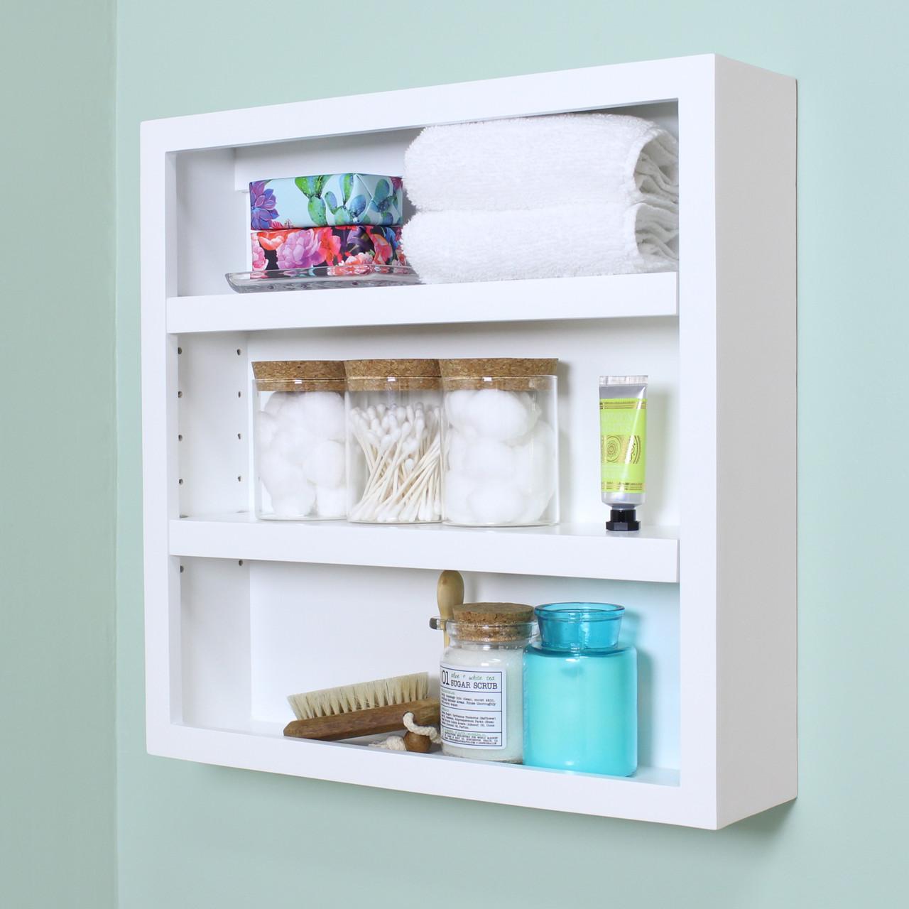 18x18 IMPERFECT White Jemma Wall Shelf by Fox Hollow Furnishings