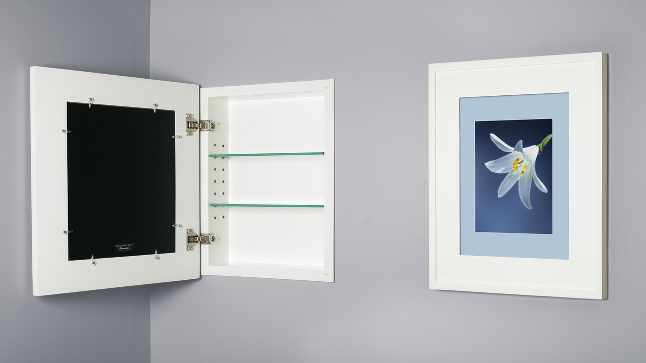 Regular White Concealed Cabinet | Recessed In-Wall Picture Frame ...