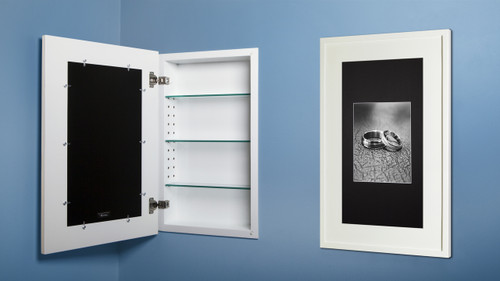 Extra Large White Concealed Cabinet Recessed In Wall