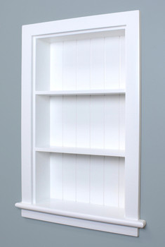 14x24 White Recessed Aiden Wall Niche W Beadboard Back