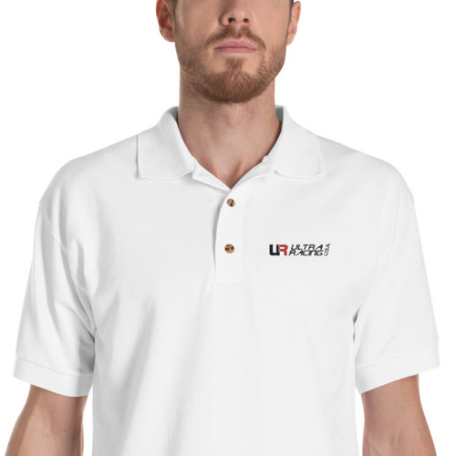 Ultra Racing - Men's Embroidered Polo Shirt (White)