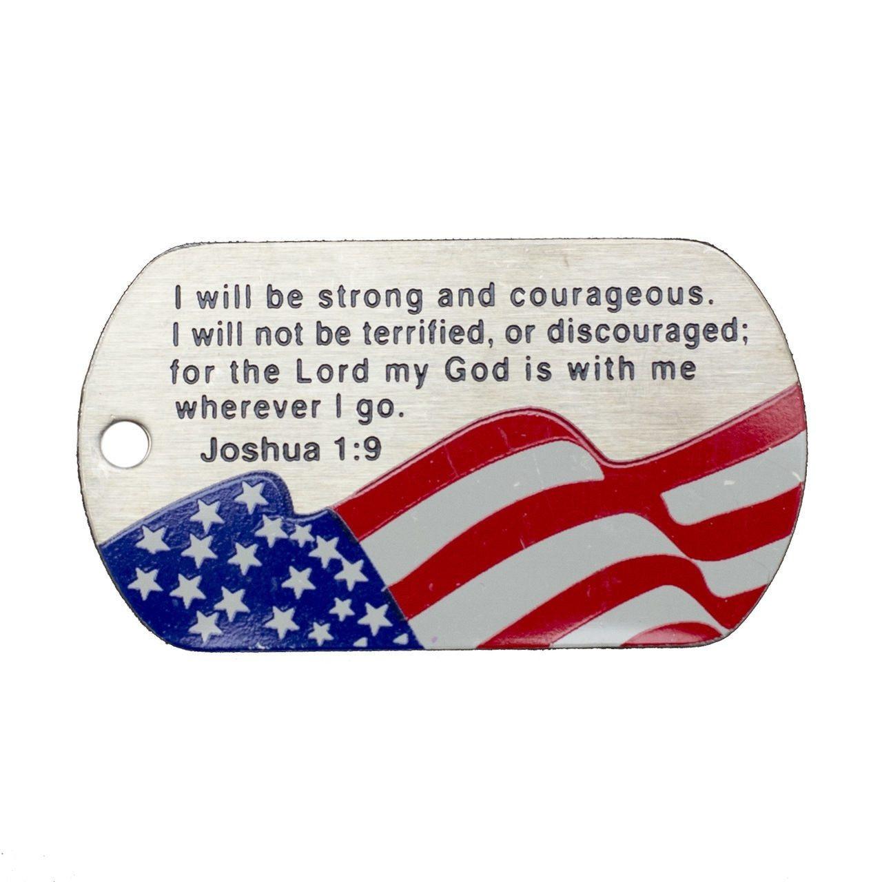 USA American Flag Color Military Style 2 Piece Dog Tag Set