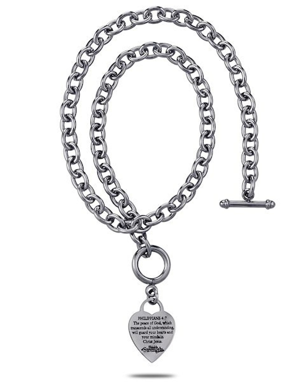 e592a3e969bef Stainless Steel Heart Chain Necklace-Phil 4:7