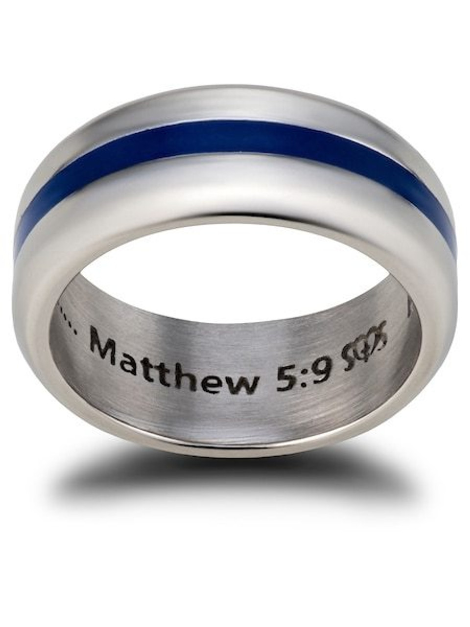 Modern Style North Arrow Shop Black Stainless Steel Bible Verse Ring Matthew 5:8 Purity