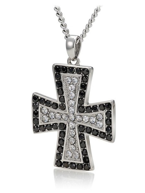 """1 Stainless steel Cross 1 3//4/"""" Pendant Silver color  Rhinestones 24/"""" Necklace"""