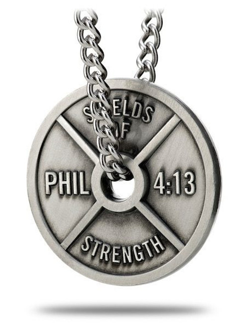 3d42d039c9a Shields Of Strength Men's Antique Finish High Relief Weight Plate Necklace-Phil  4:13